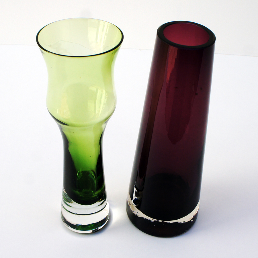 Vintage Green and Pink Glass Vases from Riihimäen, Set of 2