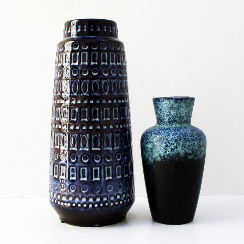 Pareja jarrones cerámica alemana azul