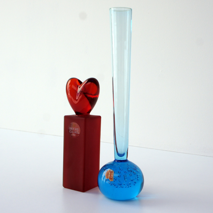 Vintage Blue Vase & Red Candlestick from Alsterfors & Holmegaard