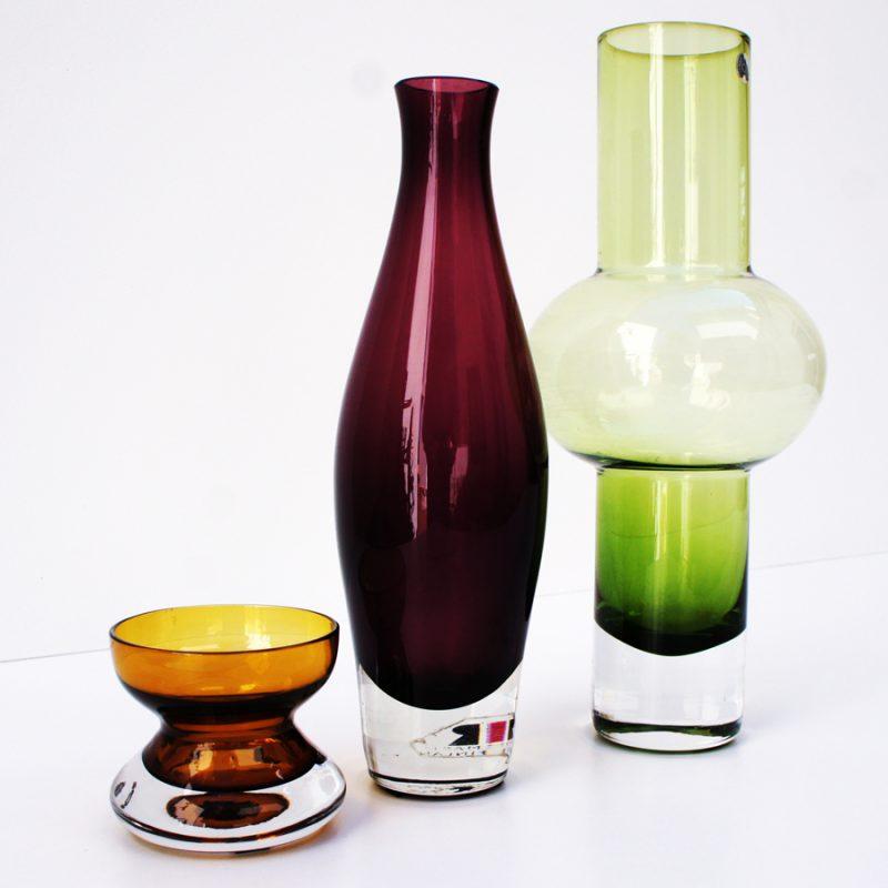 Conjunto de tres cristales Riihimäen vintage