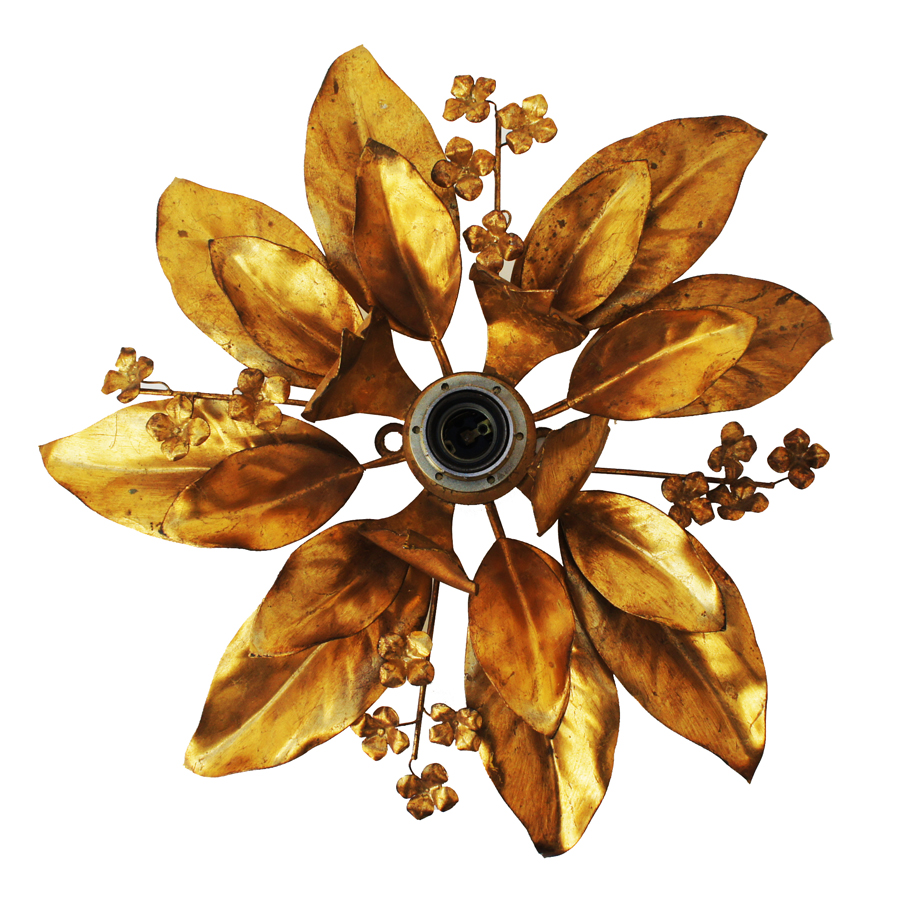 Vintage Ceiling Lamp in the Shape of Leaves by Hans Kögl