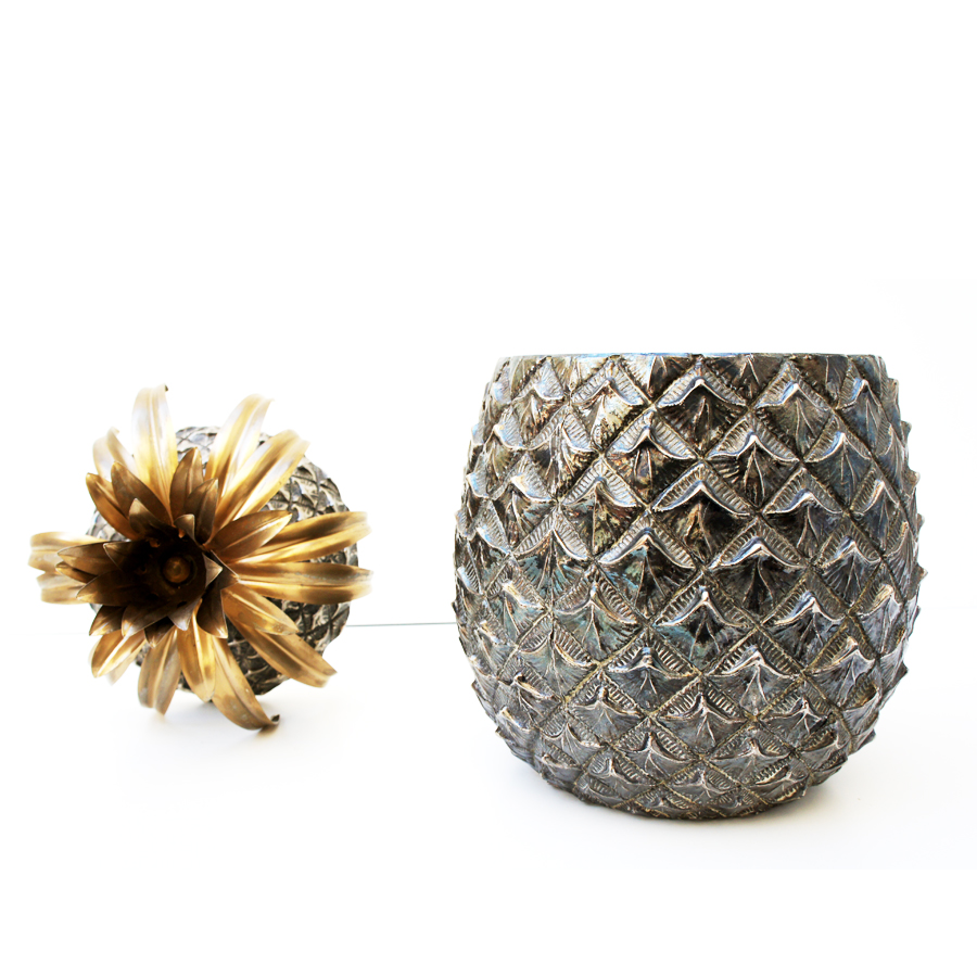 Italian Silver Pineapple Ice Bucket by Mauro Manetti for Fonderia d'Arte, 1960s