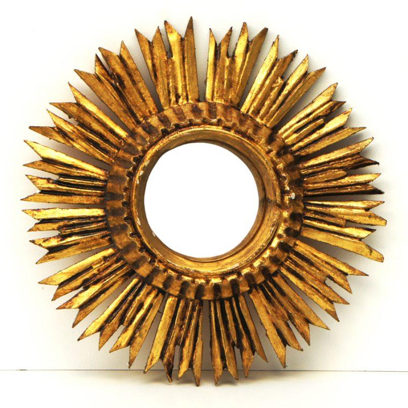 Espejo sol vintage convexo años 50s realizado en madera