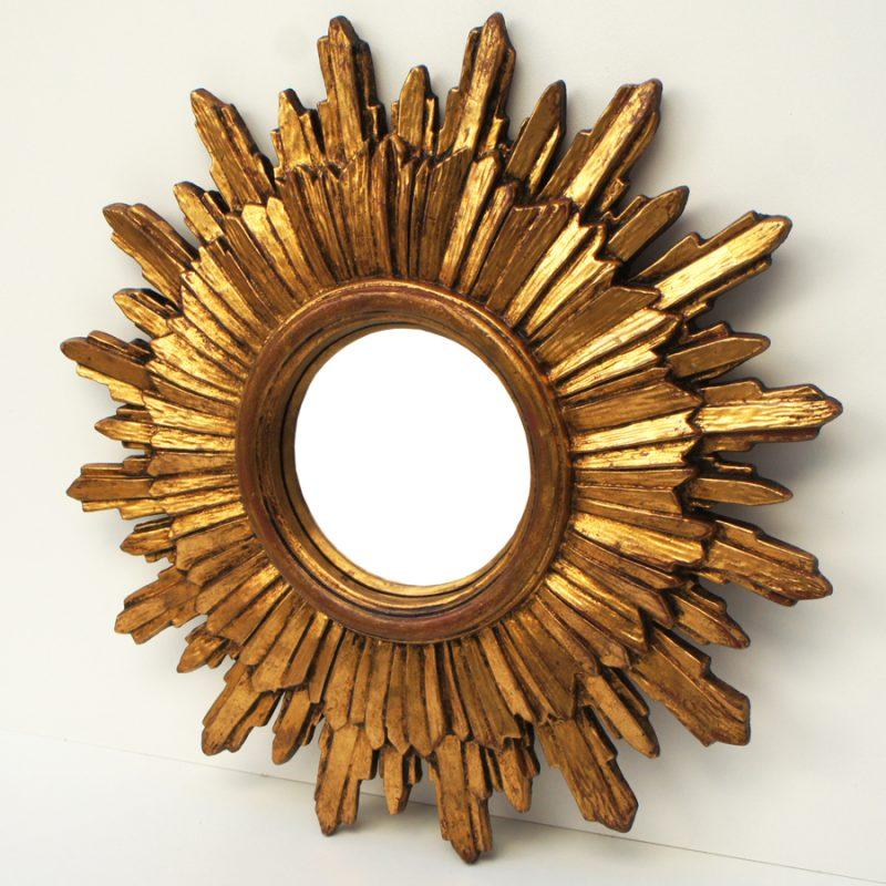 Espejo sol vintage convexo años 60s realizado en resina