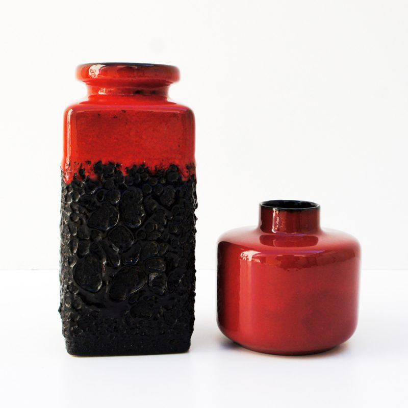 Jarrones fat lava y esmalte rojo