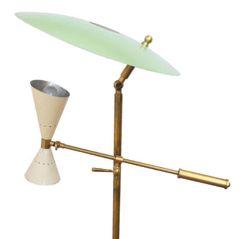 Lámpara Stilnovo de suelo en color verde y beige