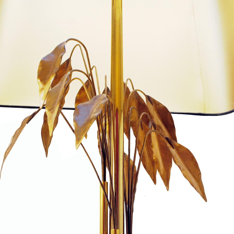 Gold Leaves Floor Lamp from Maison Charles, 1970s