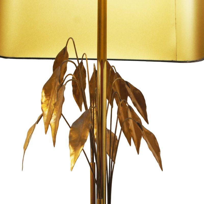 Lámpara de suelo Maison Charles hojas doradas