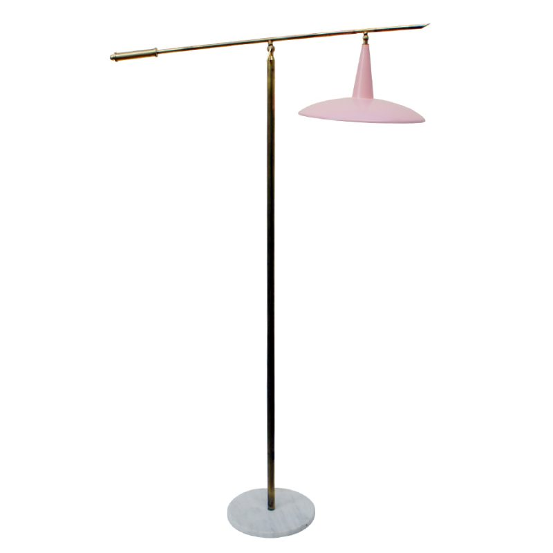 Italian Floor Lamp in Baby Pink, 1950s