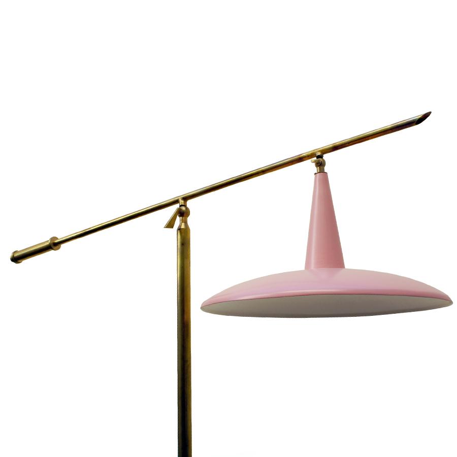 Italian Floor Lamp in Baby Pink, 1950s