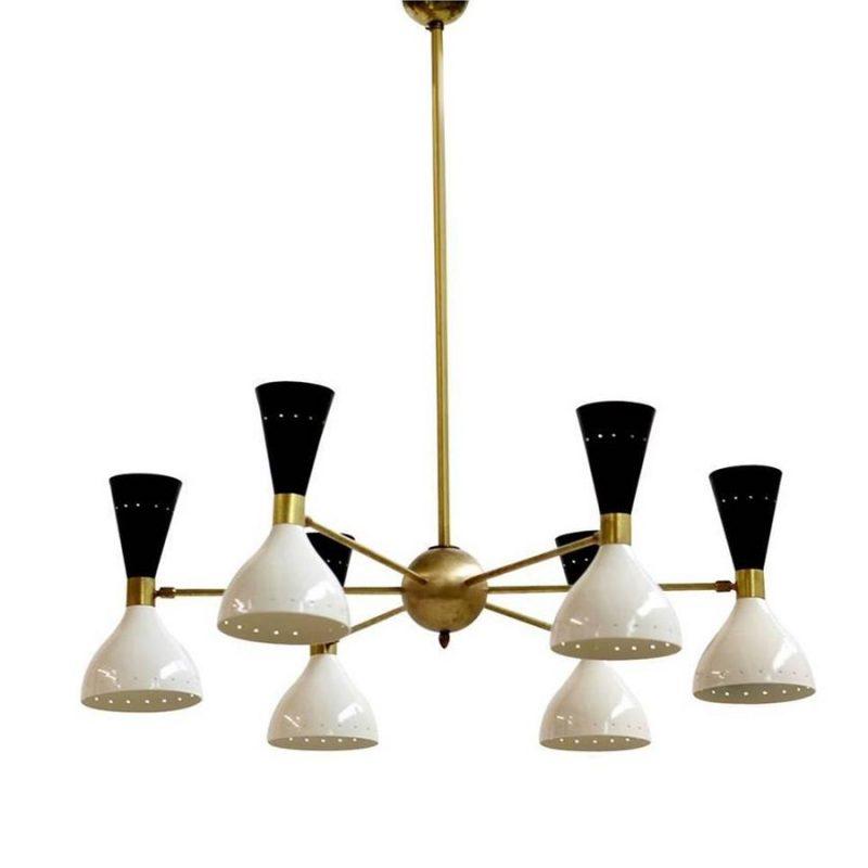 Lámpara italiana bicolor estilo Stilnovo años 50s