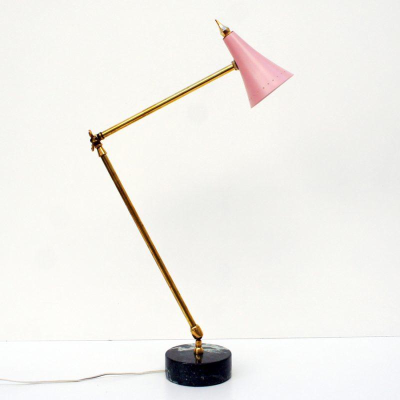 Lámpara italiana de mesa años 50s con base de mármol