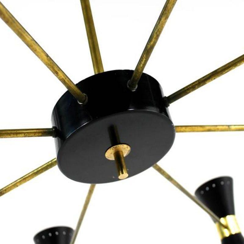 Lámpara italiana de ocho brazos estilo Stilnovo años 50s