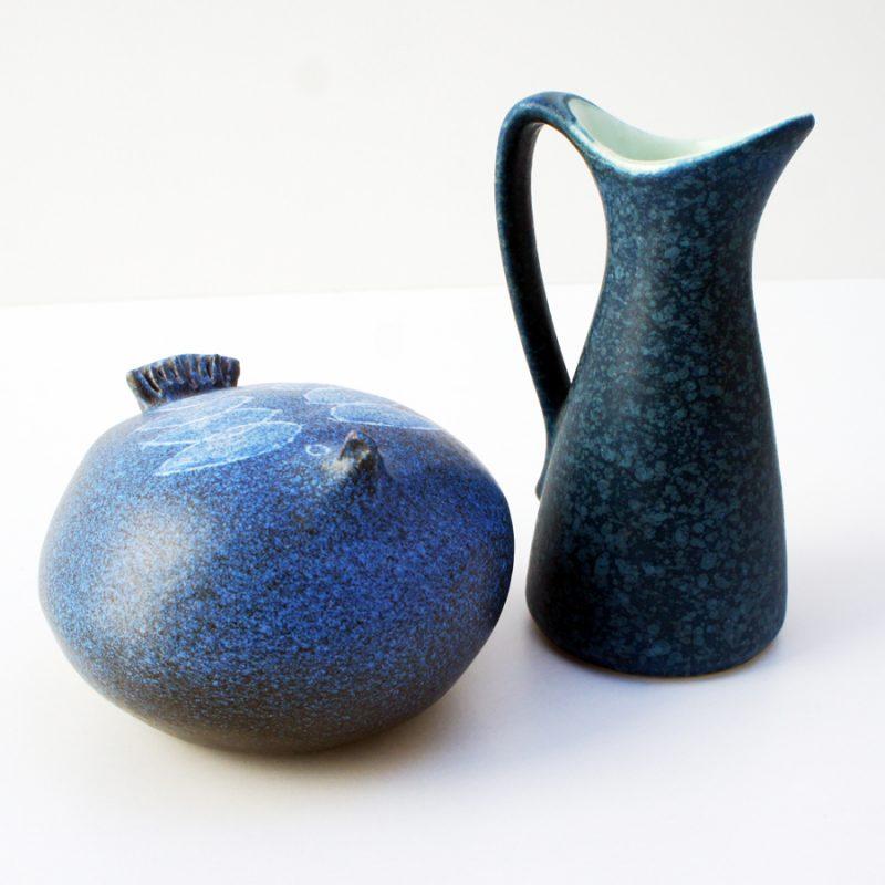 Pareja de cerámica francesa y alemana en tonos azules