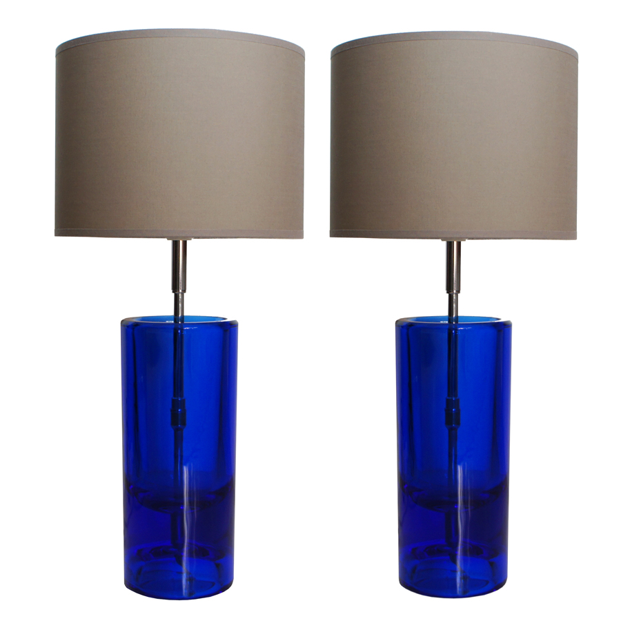 Vintage Blue Glass Table Lamps by Daum, Set of 2