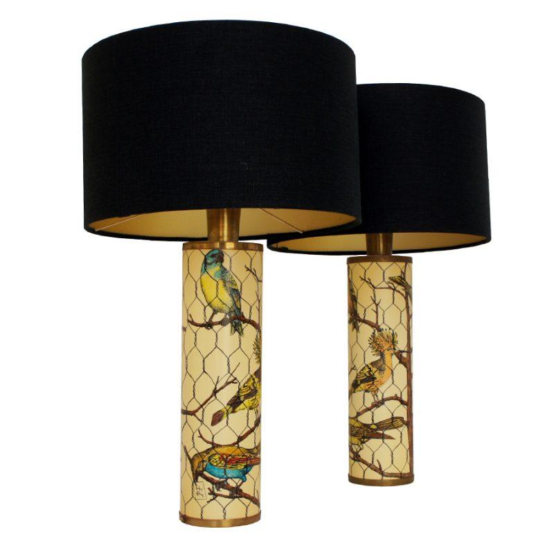 Pareja de lámparas de mesa Fornasetti