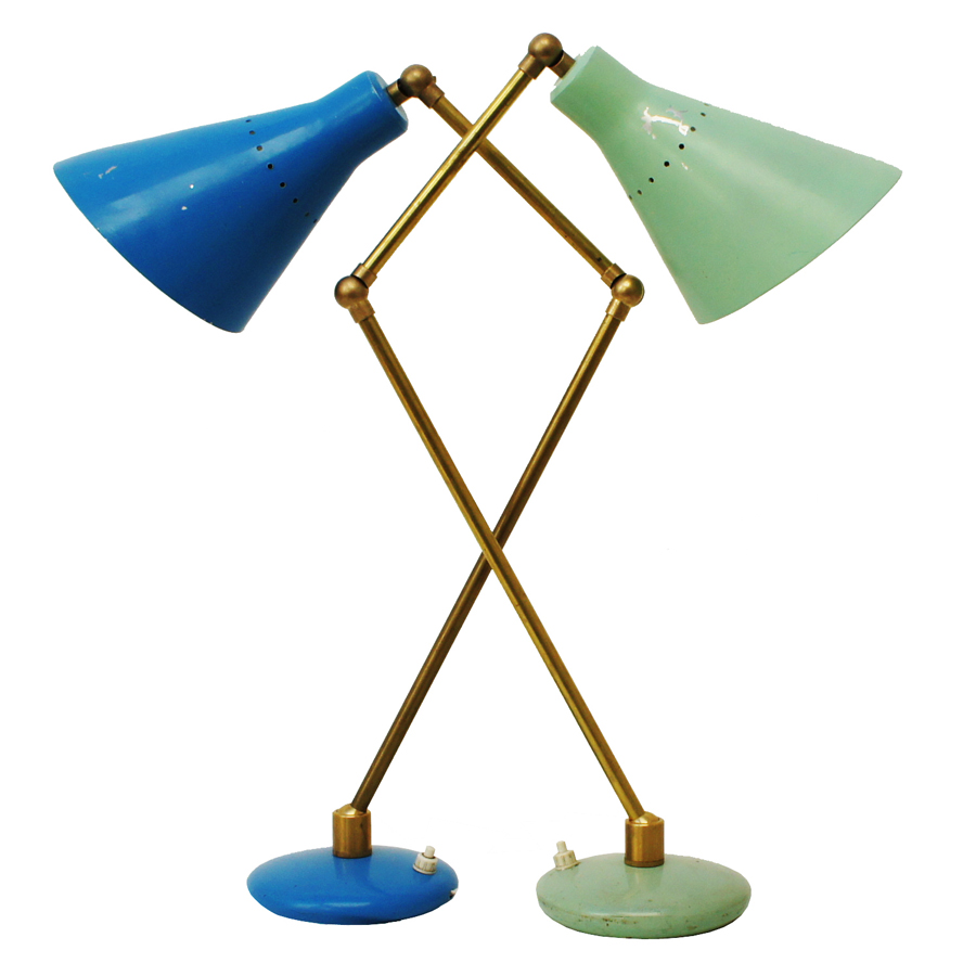 Italian Table Lamps with Blue & Mint Lacquer, 1950s, Set of 2