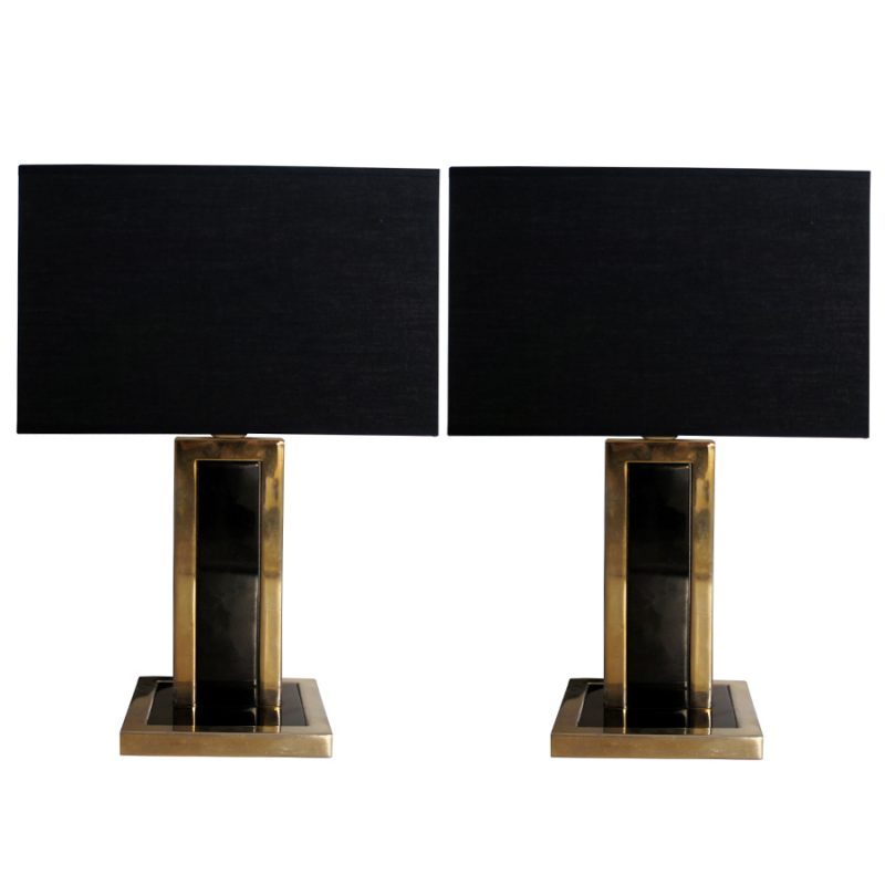 Vintage Black Metal & Brass Table Lamps, Set of 2