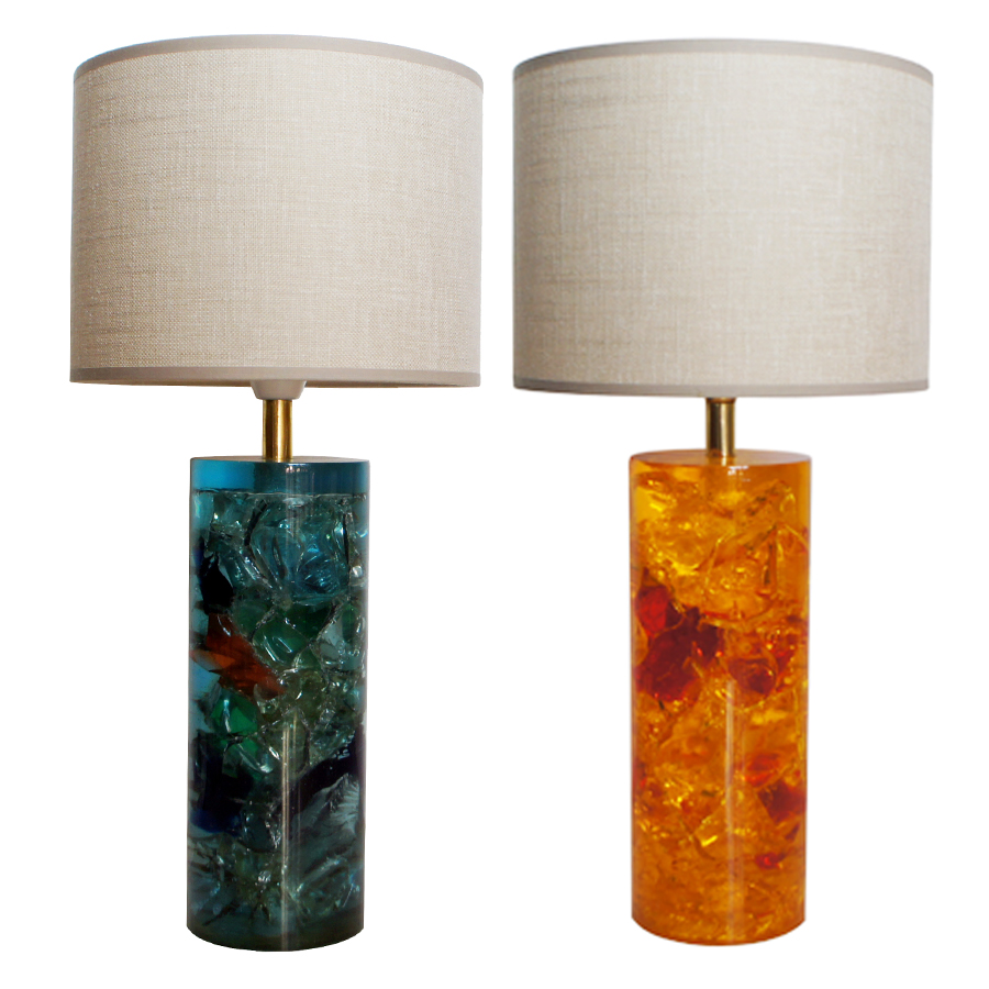 Vintage Fractal Resin Table Lamp, set of 2
