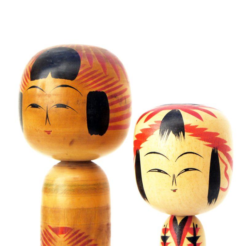 Pareja de muñecas kokeshi XL años 30 y 70