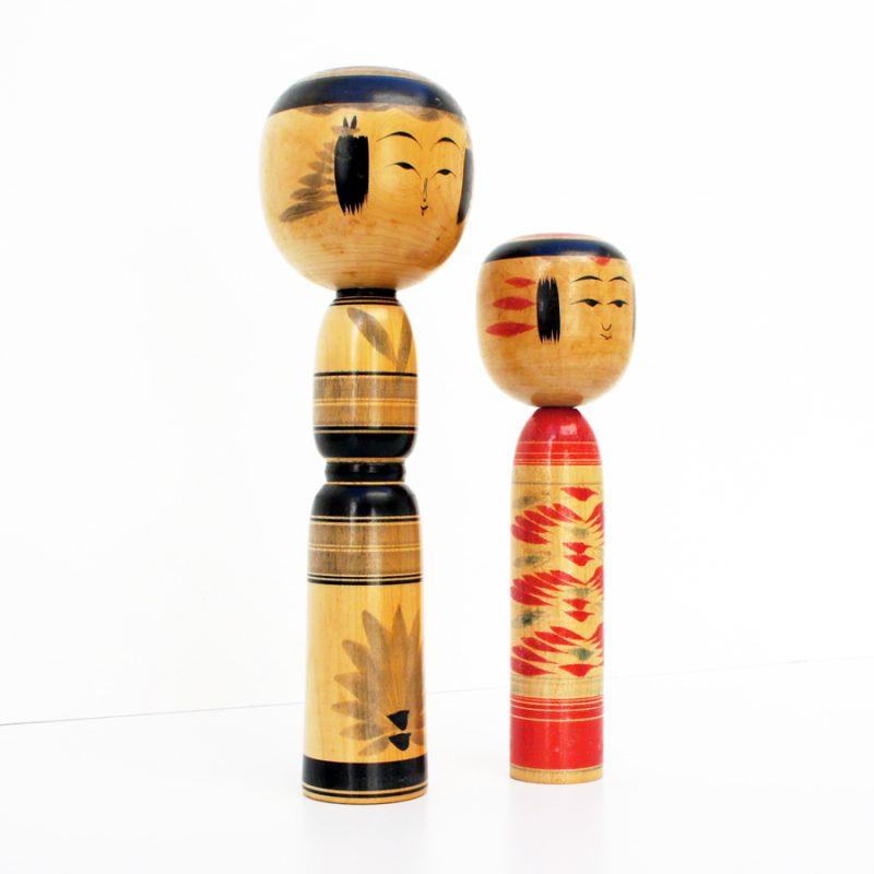 Pareja de muñecas kokeshi XL vintage