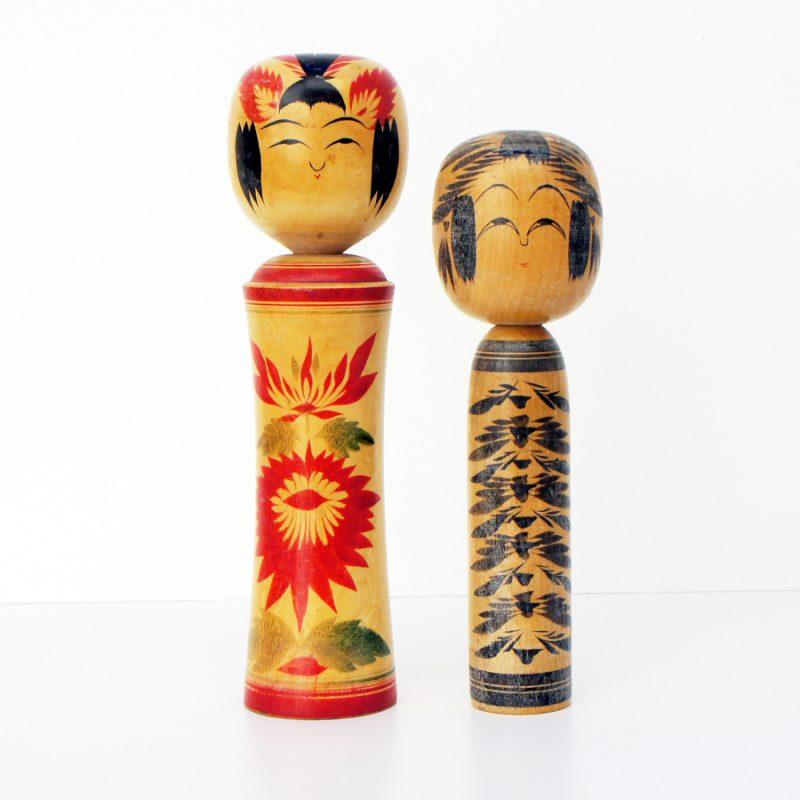 Pareja de muñecas kokeshi años 50