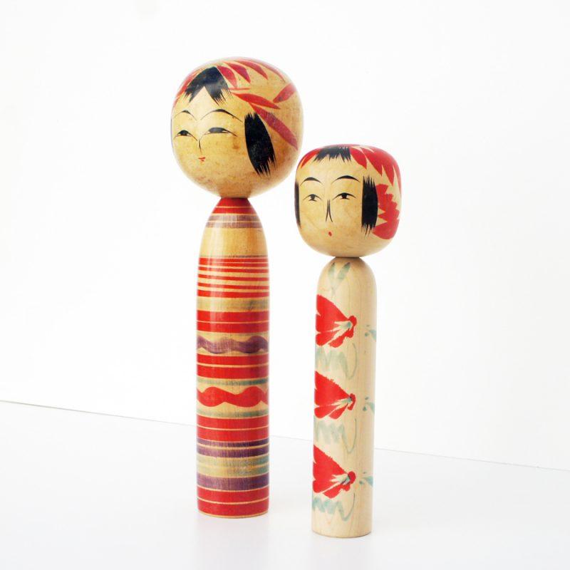 Pareja de muñecas kokeshi vintage años 60