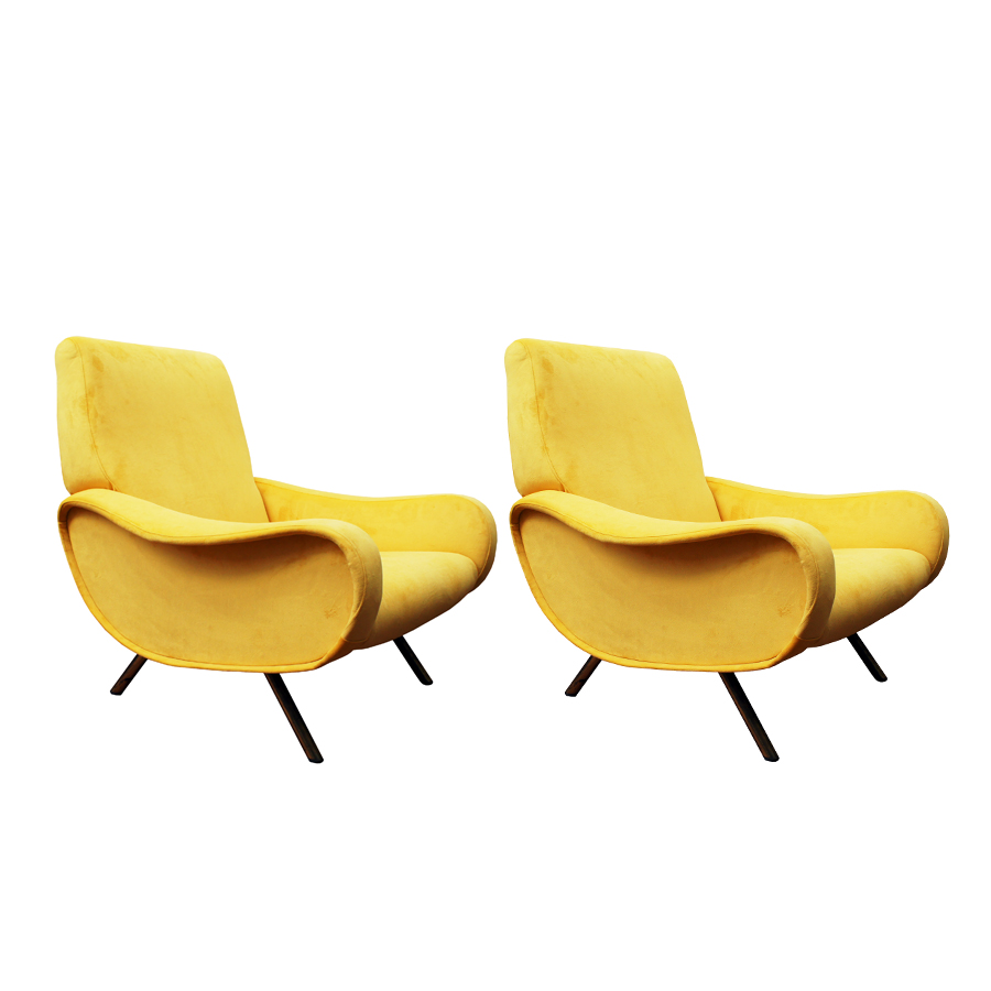 Mid-Century Mustard Yellow Lady Easy Chairs by Marco Zanuso for Arflex, Set of 2