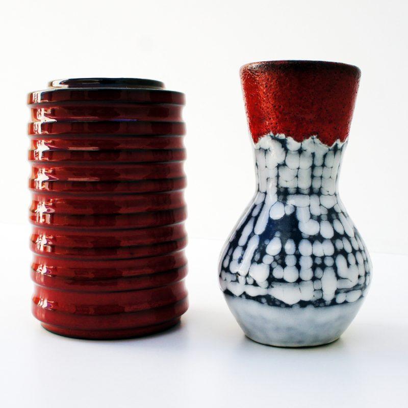 Pareja de jarrones fat lava y esmalte rojo