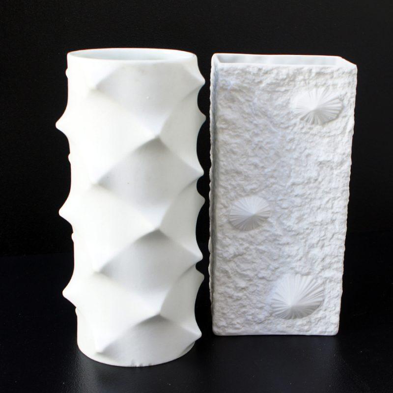 Pareja jarrones porcelana alemana bisquit