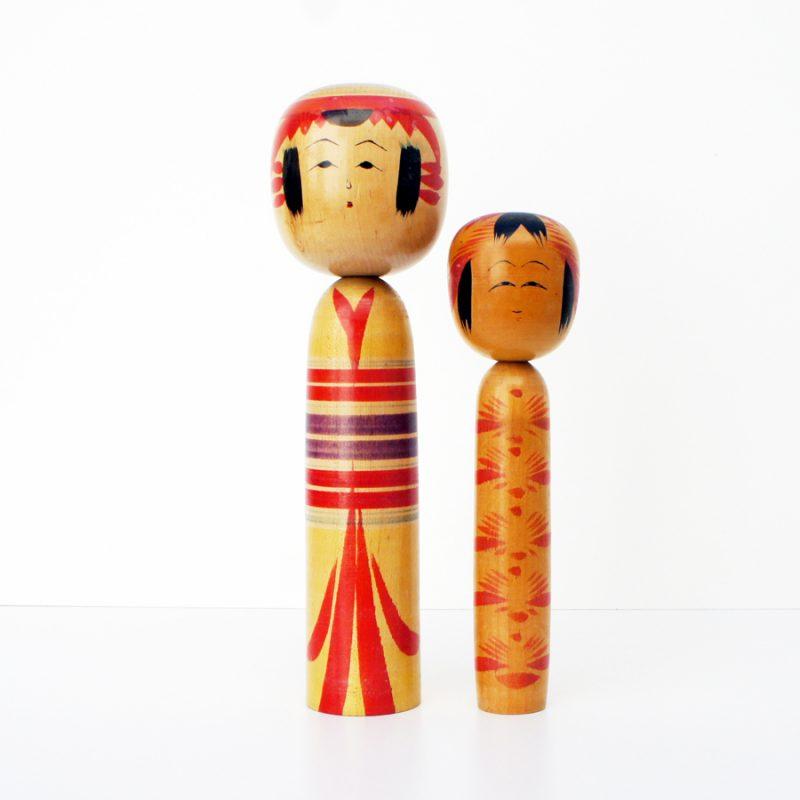 Pareja muñecas kokeshi vintage años 60 y 50