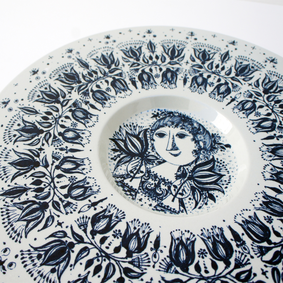 Danish Porcelain Plate by Bjorn Wiinblad for Nymolle, 1960