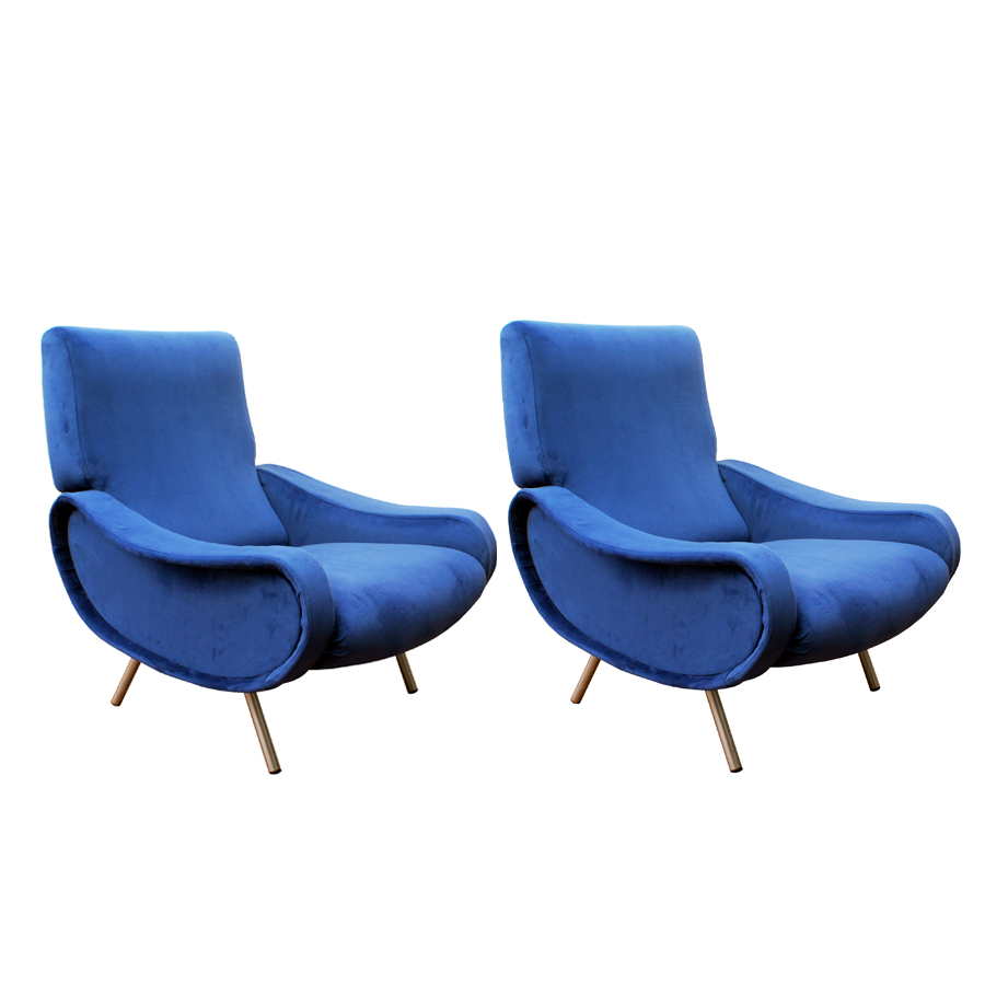 Royal Blue Lady Easy Chairs by Marco Zanuso for Arflex, Set of 2