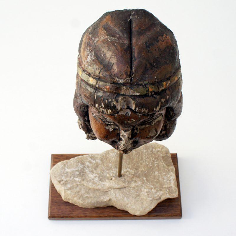 Talla francesa de cabeza de madera S.XVIII