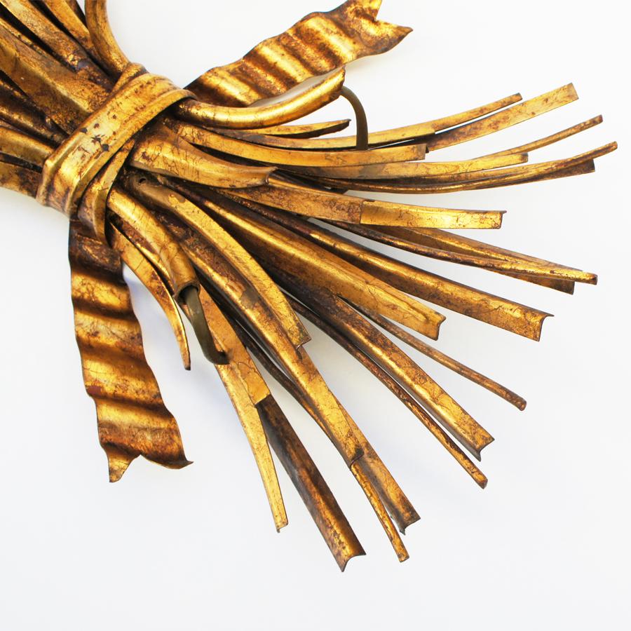 Vintage Gold Wheat Sconces by Hans Kögl, Set of 2