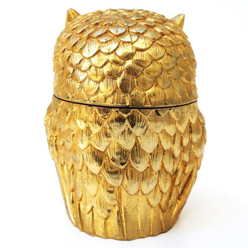 Cubitera búho dorada diseño Mauro Manetti