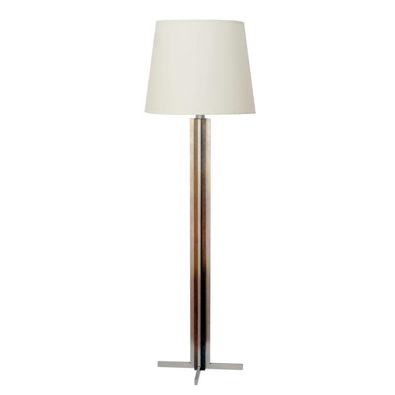 Lámpara francesa de suelo vintage de madera y metal