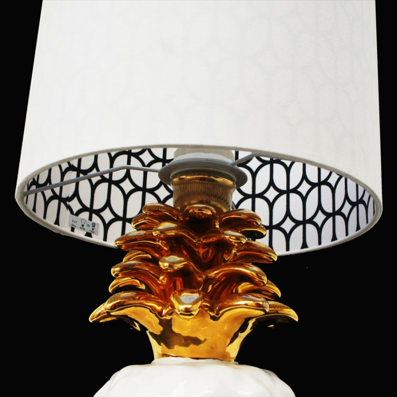 Lámpara piña blanca de mesa de origen francés