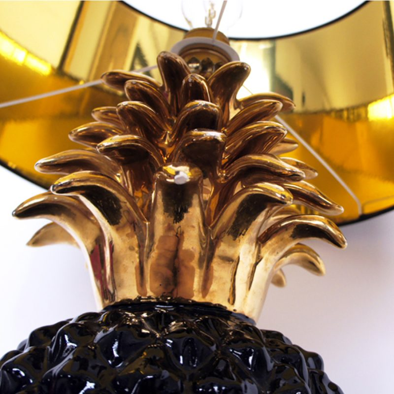 Lámpara piña negra de mesa vintage tamaño XL