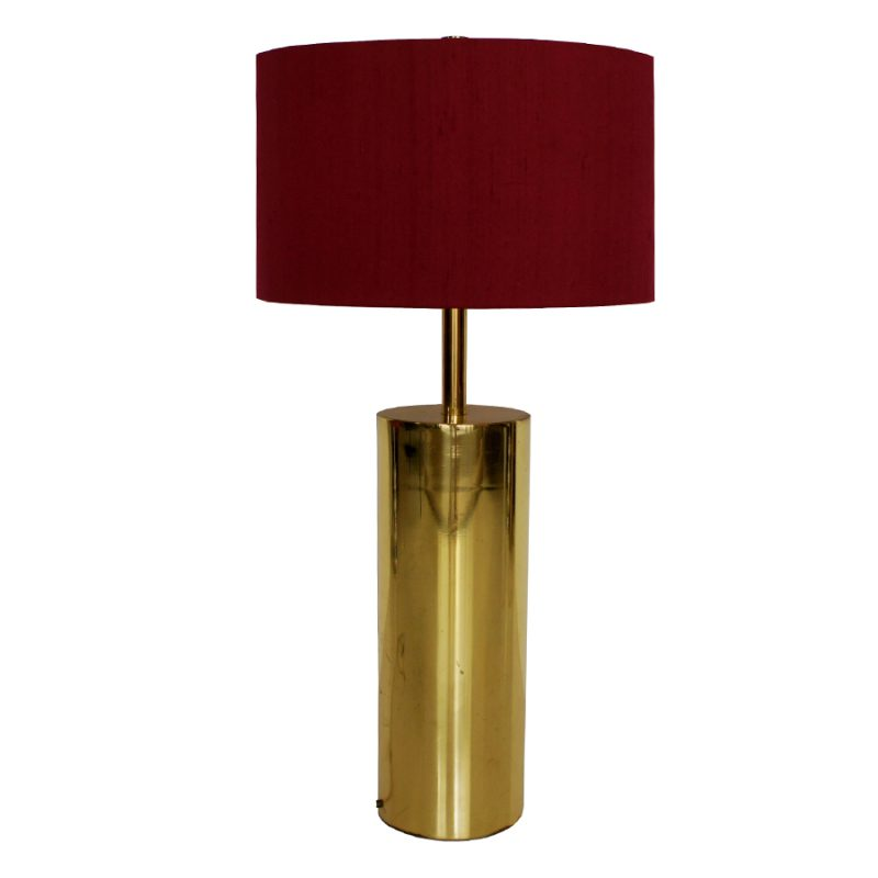 French Gold Table Lamp with Fuchsia Shade