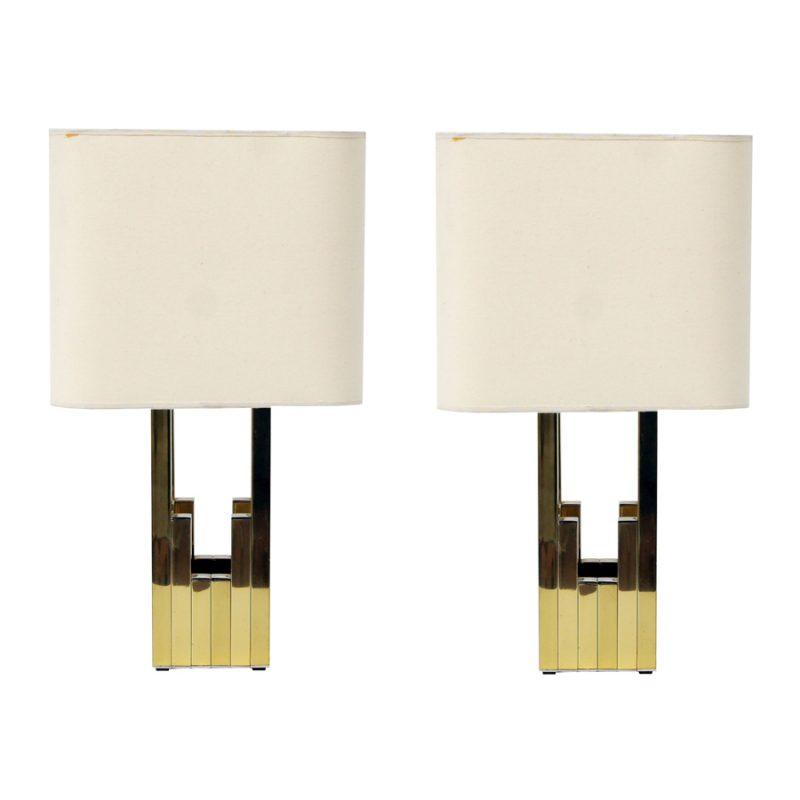 Pareja de lámparas de mesa Willy Rizzo para Lumica