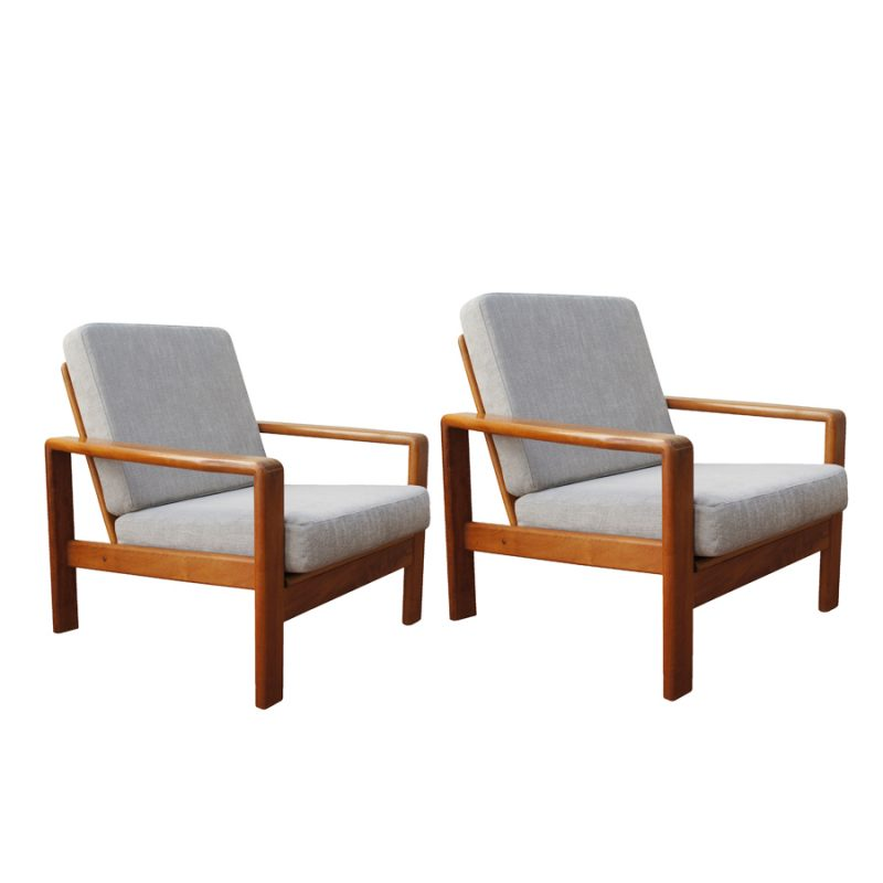 Armchairs and Ottoman by H.W. Klein for Bramin, Set of 3