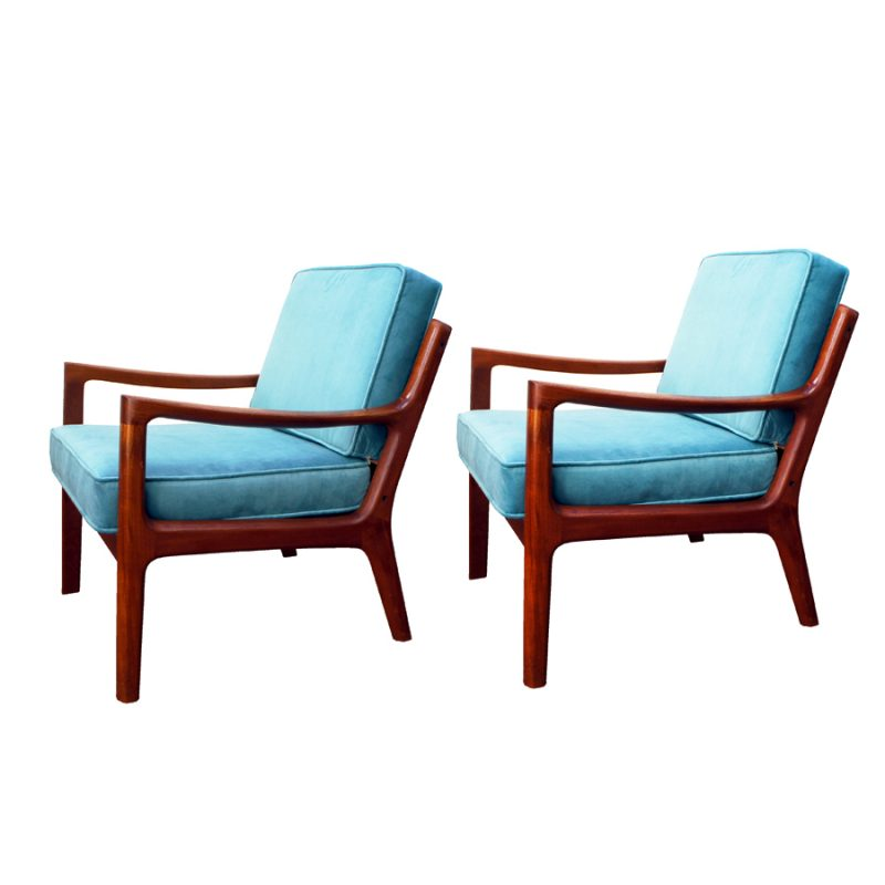 Pareja de sillones escandinavos de terciopelo turquesa